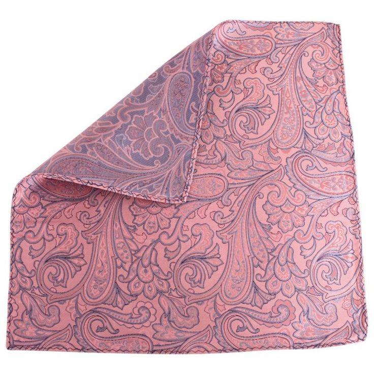 Knightsbridge Neckwear Paisley Silk Pocket Square - Pink/Blue | Pink Pocket Square | KJ Beckett
