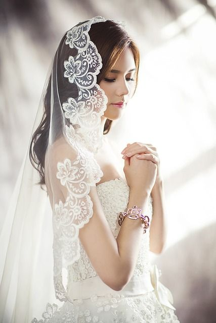 웨딩 드레스, 패션, 문자, 신부, 베일, 기도, 화이트 드레스, 젊은 여자