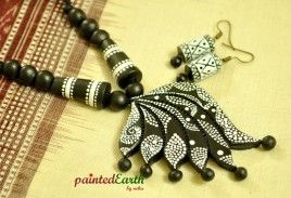 Terracotta black and white freestyle handpainted set