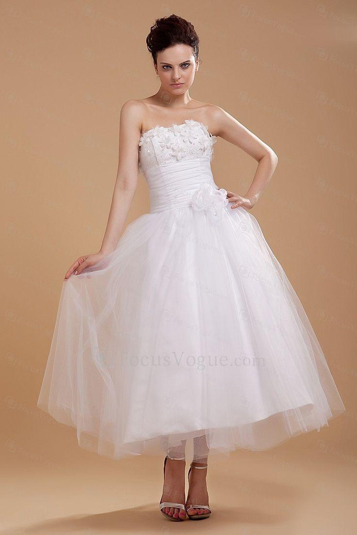 US $143.00 | Tyll och satin axelbandslös tea-längd balklänning bröllopsklänning med embroideredd