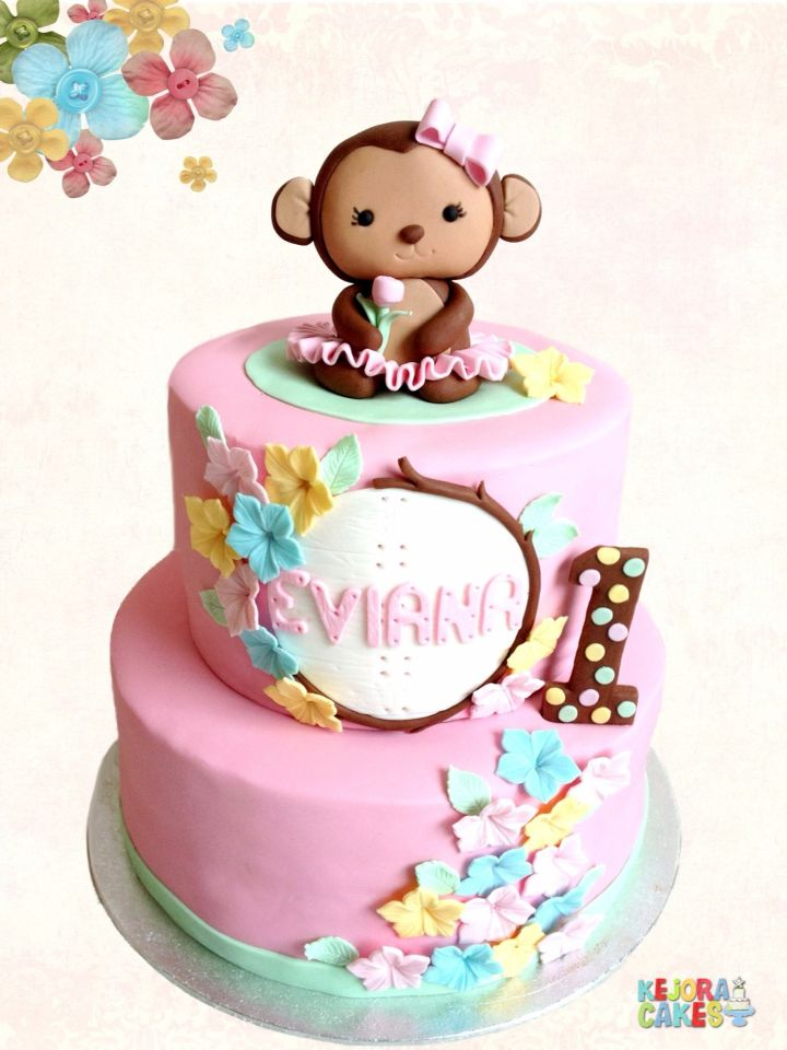 Little girly monkey cake. Original topper designed by Bloom Cake. All is edible.