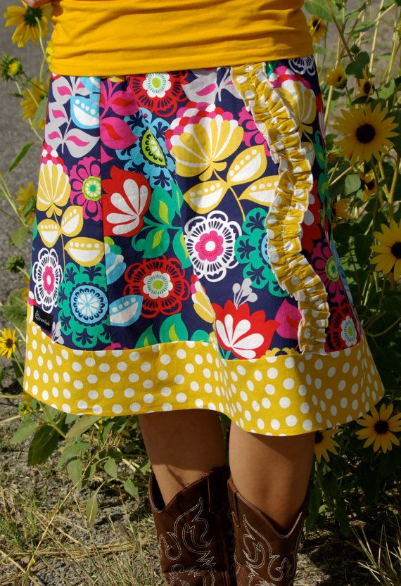 Fall Floral and Mustard Yellow Polka Dot   A line by Gogreenstyle, $35.00