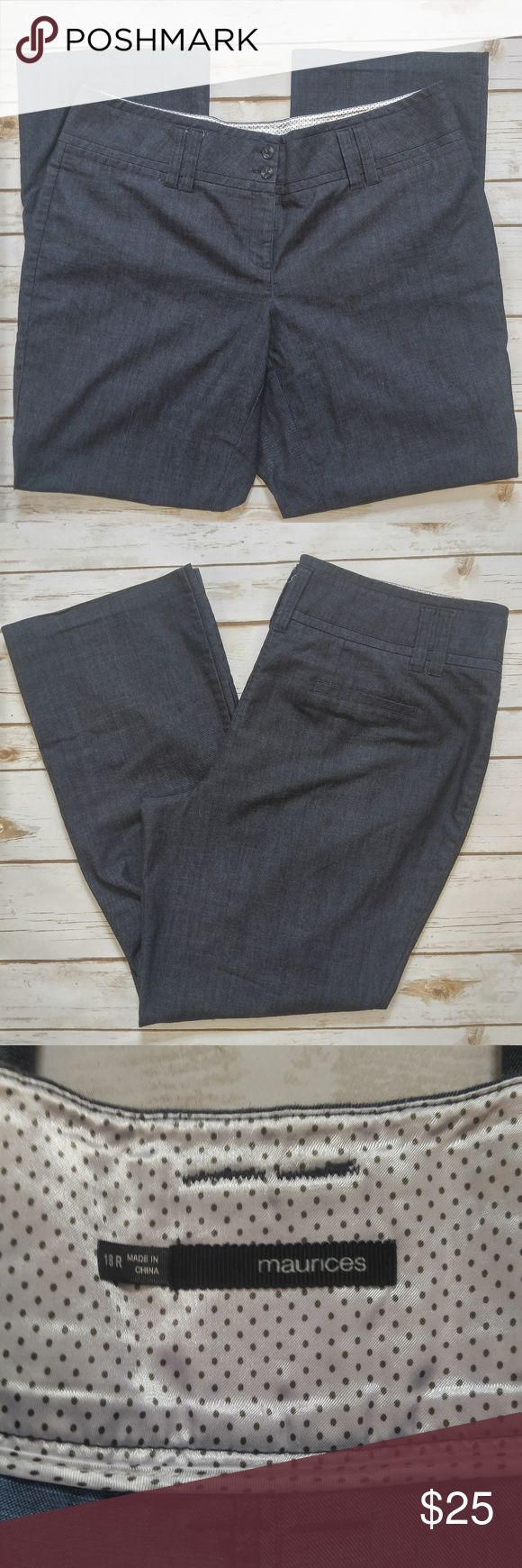 Maurices Blue Gray Dress Slacks Maurices Blue Gray Dress Slacks Size 18 Regular in excellent used condition. Please feel free to ask any questions or bundle with other listings in my closet for a custom discount on your order. I ship the same day as long as the order is placed before 11:00 AM Central time. If you would like to be notified about price drops remember to 'like' the item to bookmark it! Thank you for checking out my closet and happy poshing! Maurices Pants Straight Leg