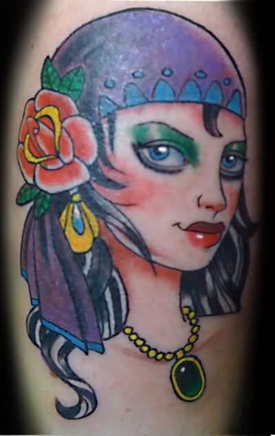 Elegant Gypsy Girl Tattoo