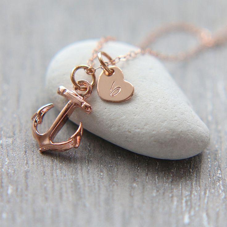 Anchor Necklace, Rose Gold Anchor Necklace, Initial Anchor Necklace, Personalized Necklace,Beach necklace,Nautical Necklace,Initial Necklace