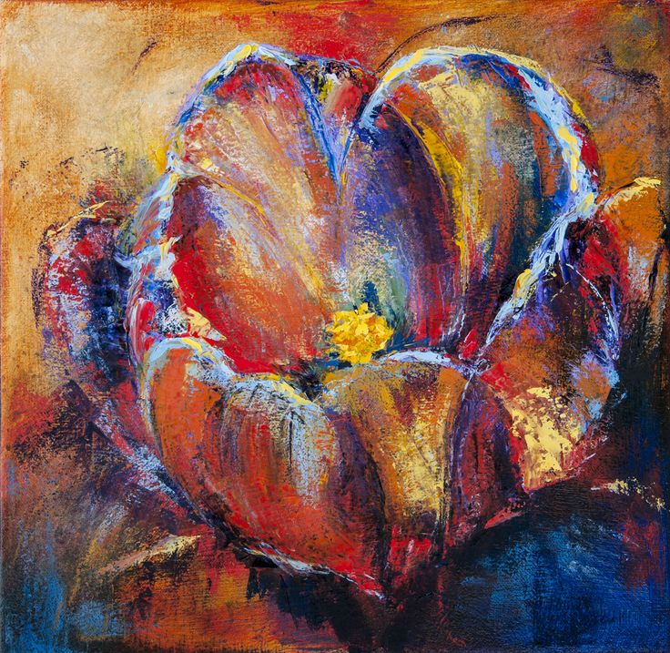 A flower painting that evolved from being a blue flower to a colourful and vibrant flower.