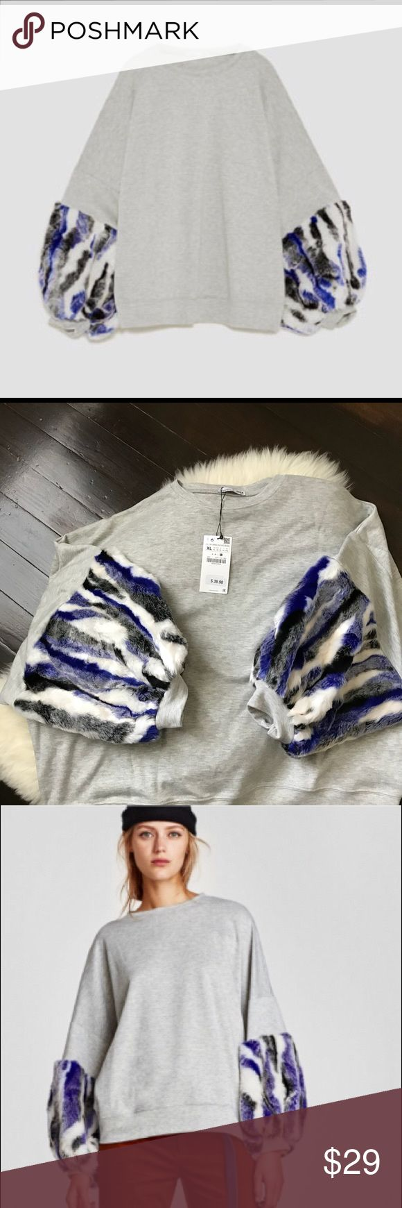 NWT Zara sweatshirt with contrasting sleeves ✔️SZ XL. Round neck sweatshirt with long puffy sleeves in contrasting fabric.   This item is online/store now.  PRICE IS FIRM  -11/40- Zara Tops Sweatshirts & Hoodies