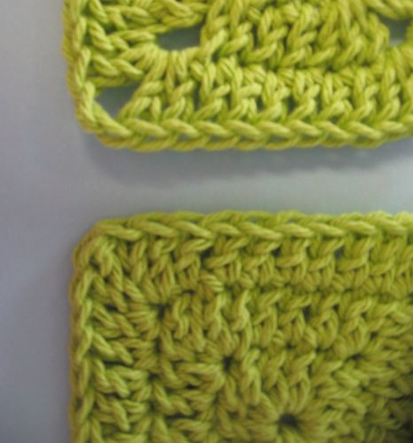 Ever wonder how to fill in those ch-2 corners? Here's a special stitch that closes gaps usually created by the ch-2 corner. Don't let the odd stitch overwhelm you. The only difference between a normal double crochet and an adjacent double crochet stitch (adc) is where the hook is placed.  This tutorial uses double crochet, but you can use the same technique for half double or single crochet also. Just replace 'dc' in the directions with the crochet stitch of your choice.