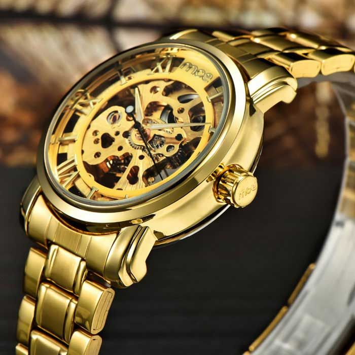 MCE 01-0060049 Hollow Analog Full-Automatic Mechanical Watch - Golden - Free Shipping - DealExtreme