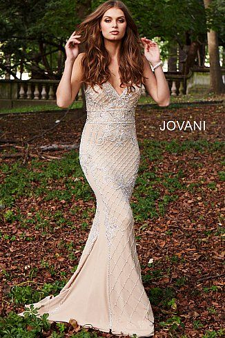 662ea7adf6 Nude Silver Beaded V Neck Fitted Prom Dress 57612  NudeDress  Jovani   PromDress