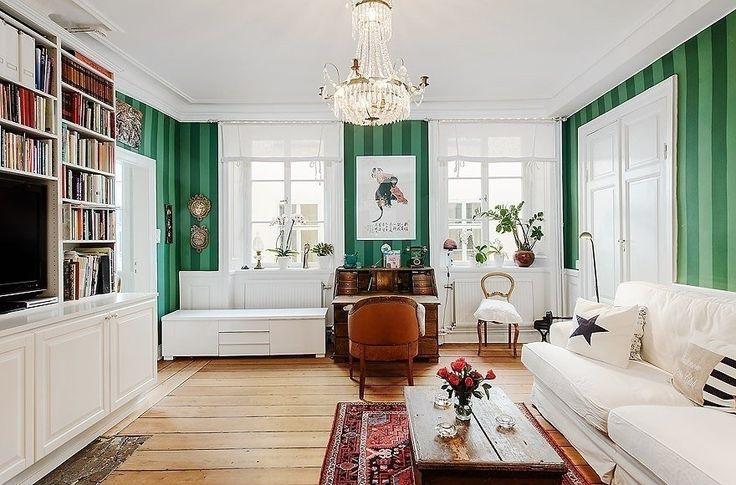 Полосатые обои в гостиной - Дизайн интерьеров | Идеи вашего дома | Lodgers