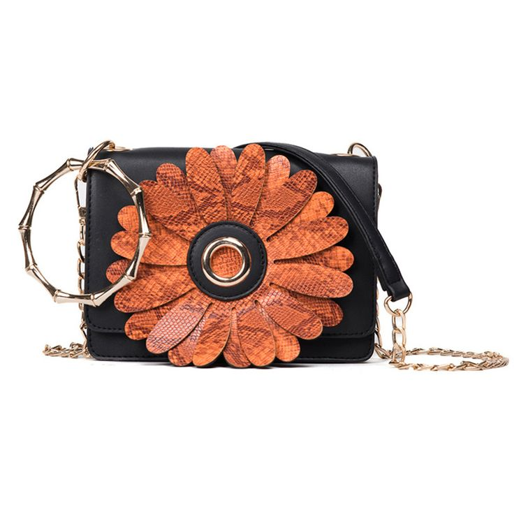 Chain handbags women 2017 American style fashion snake pattern flowers small square summer new shoulder bag messenger bags