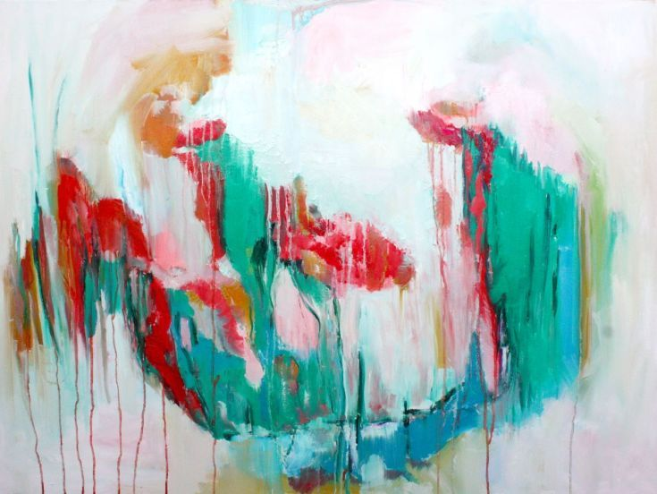 ARTFINDER: Changing direction 35x47', 90x120 cm by Elisaveta Sivas - Abstract large painting original modern art Bright colours green turquoise red light blue pink white Modern artwork by Elisaveta Sivas CHANGING DIRECTION ...