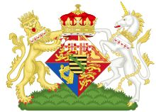 Coat of arms for Princess Maud as a Princess of the UK (youngest daughter of Edward VII and Alexandra).  The Saxony inescutcheon was dropped by royal warrant in 1917 (George V).