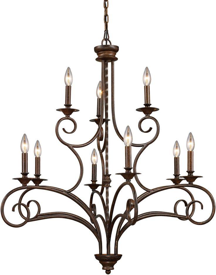 ELK Antique Bronze Gloucester Nine Light Chandelier