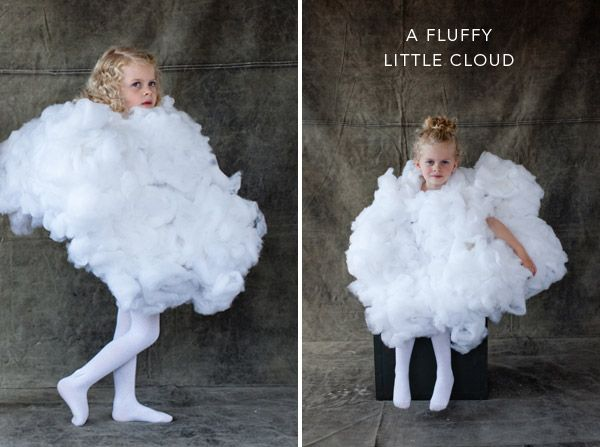 Cloud costume! Adorable--match this with a child in a lightening bolt or sun costume.  Tutorial included in link.