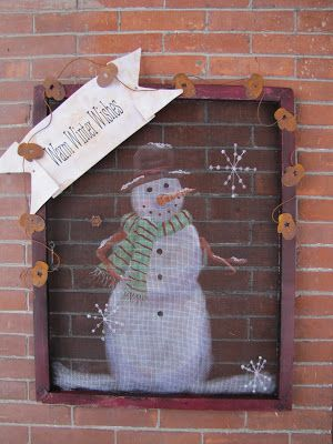 Punkin Seed Productions: Winter Welcome Signs on Old Window Screens ~ Here is the Christmas/Winter one instead of the pumpkin. ~Can't wait to try it!