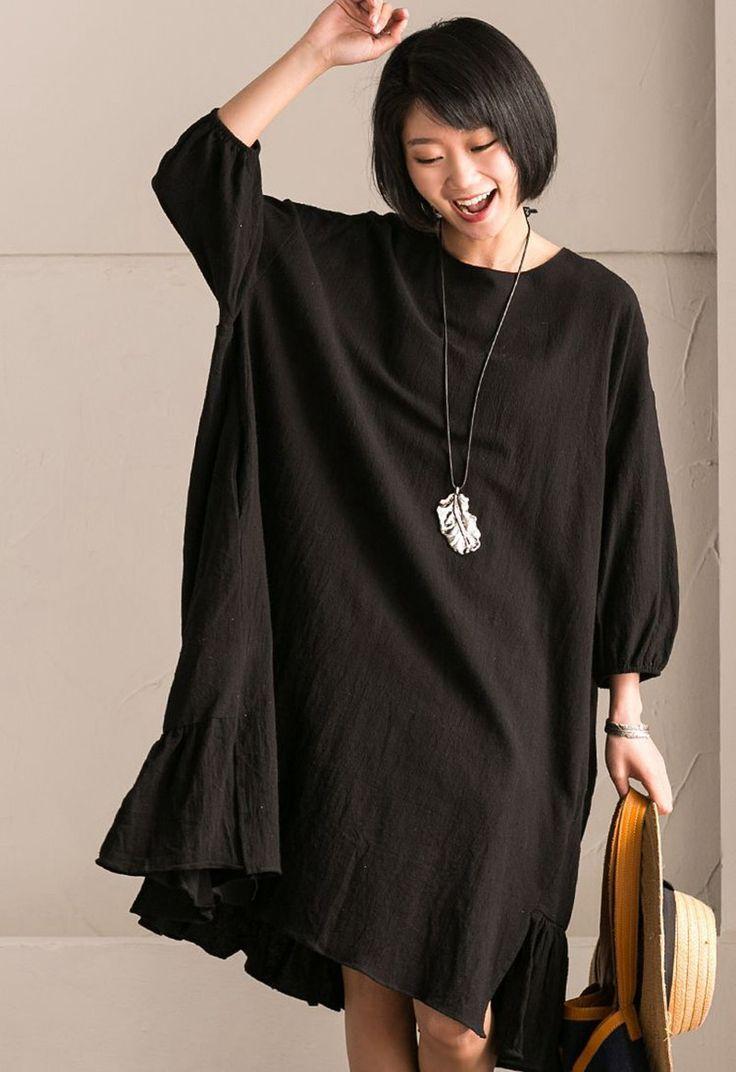 Black Korean Style Cotton Linen Falbala Bat Sleeve Round Neck Loose Women Clothes Q8300B