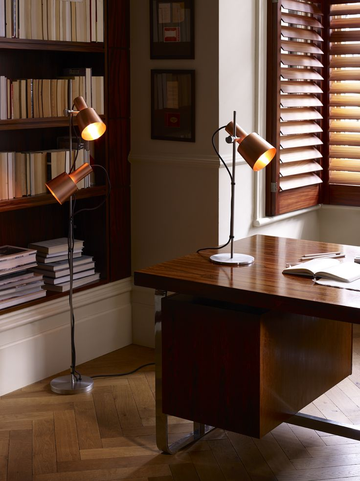 Illuminate your desk space with our    contemporary Chester Table Light. Featuring a striking satin brass shade and stainless steel detailing.