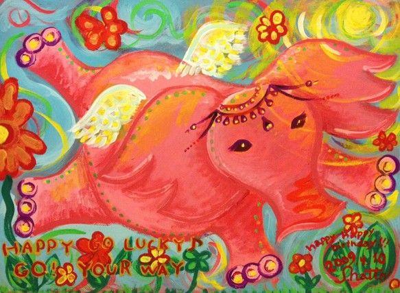 妹の誕生日に生まれた桃象pink elephant 一作目F4キャンバスボードガッシュ|ハンドメイド、手作り、手仕事品の通販・販売・購入ならCreema。