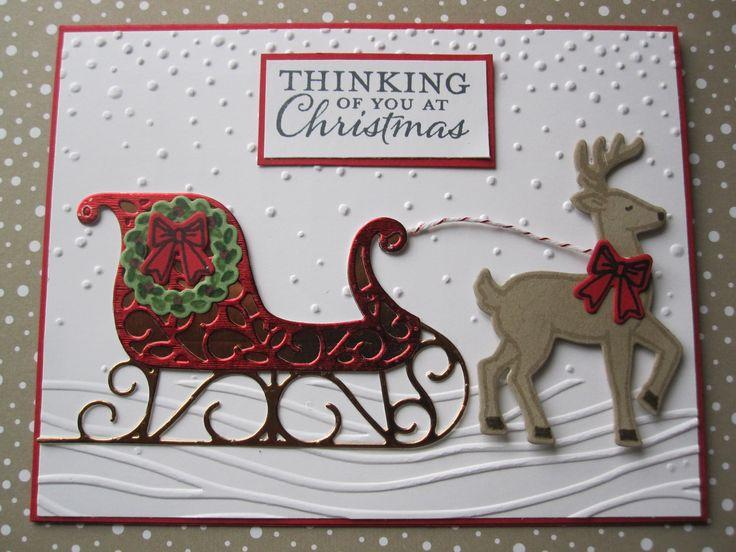 Stampin Up Santa Sleigh stamp set. Card made by Debbie Reed