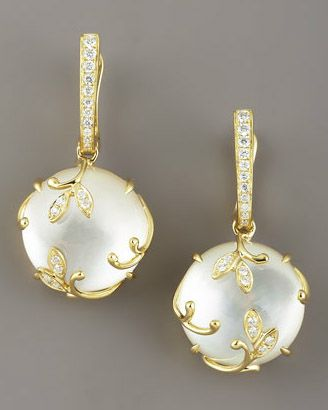 stunning Frederic Sage Jelly Vine Mother-of-Pearl Earrings •18-karat yellow gold settings •Pave white diamond stations •Round mother-of-pearl drops encased in leafy pave white topaz vine settings.