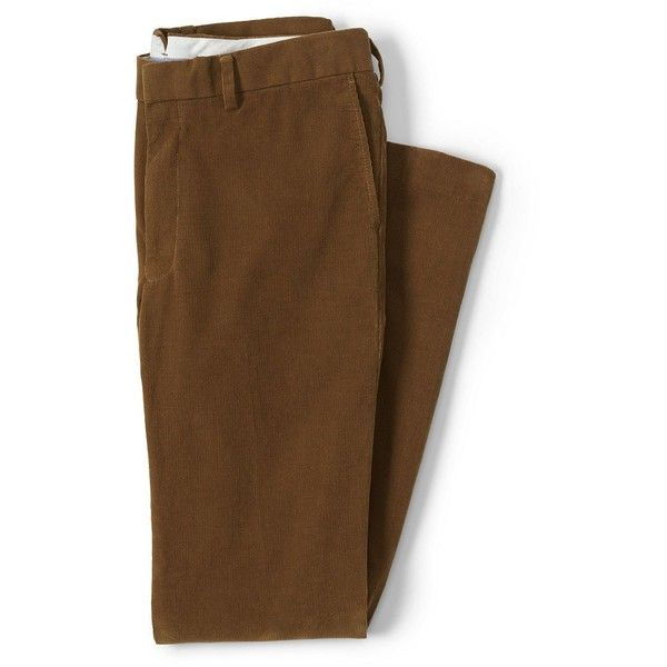 Lands' End Men's Plain Front Slim Fit 18-wale Corduroy Trousers ($35) ❤ liked on Polyvore featuring men's fashion, men's clothing, men's pants, men's casual pants, men, brown, mens holiday pants, lands end mens pants, mens loose fit cargo pants and mens slim pants