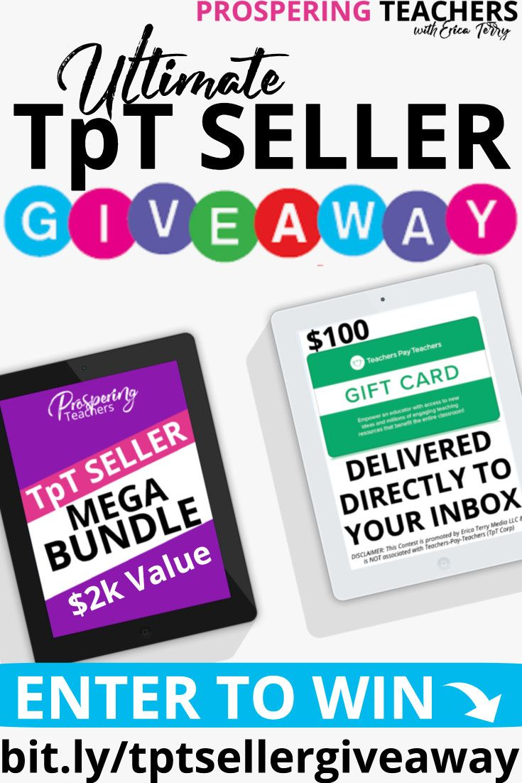 - Free Giveaway For TpT Sellers. Win A TpT Seller Bundle + $100