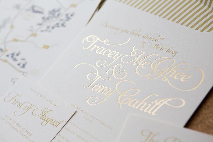 Romantic white and gold e wedding invitation, with a unique magic