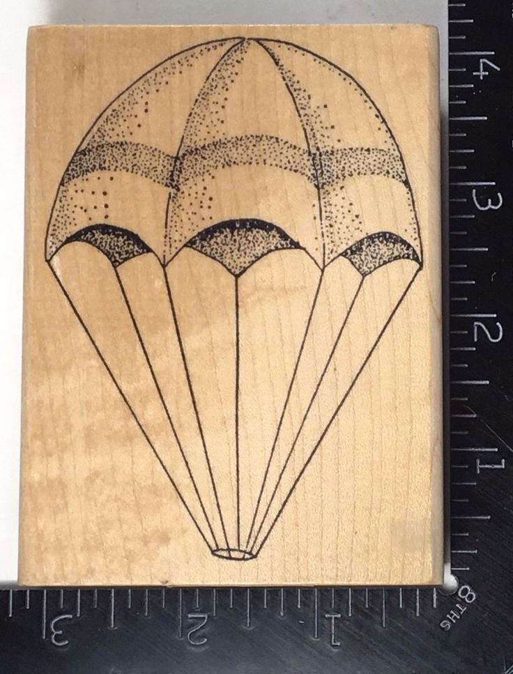 LARGE PARACHUTE Rubber Baby Buggy Bumpers Stamp RARE VHTF #759 #RubberBabyBuggyBumpers