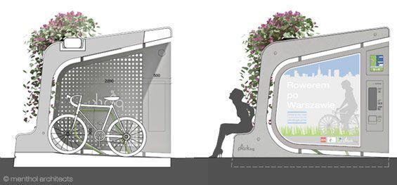 Menthol Architects, urban furniture, city furniture, plant covered bus stop, bike and bus, plant-covered bicycle parking pod, modular city furniture, bike parking, bike pod, bike rack