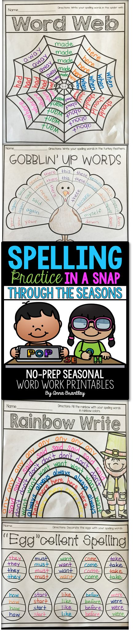 https://www.teacherspayteachers.com/Product/Spelling-Practice-in-a-Snap-Through-the-Seasons-3046890 Need to spice up your word work stations and/or spelling practice during the holidays? This packet includes 20+ seasonal themed spelling activities that are sure to keep your students engaged and having fun while working with words! Everything is print and go ready to save you time!