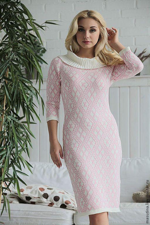 """Купить Платье """"Нежная роза"""" - бледно-розовый, Розовое платье, жаккардовое платье, вязаное платье"""