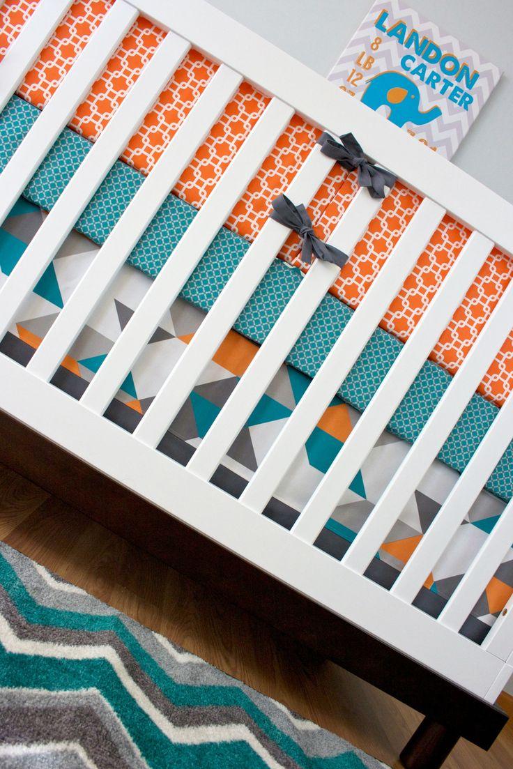Baby Boy Nursery, Orange, Turquoise, Gray Baby Bedding, Turquoise Geo *Mod Exclusive* | Modified Tot