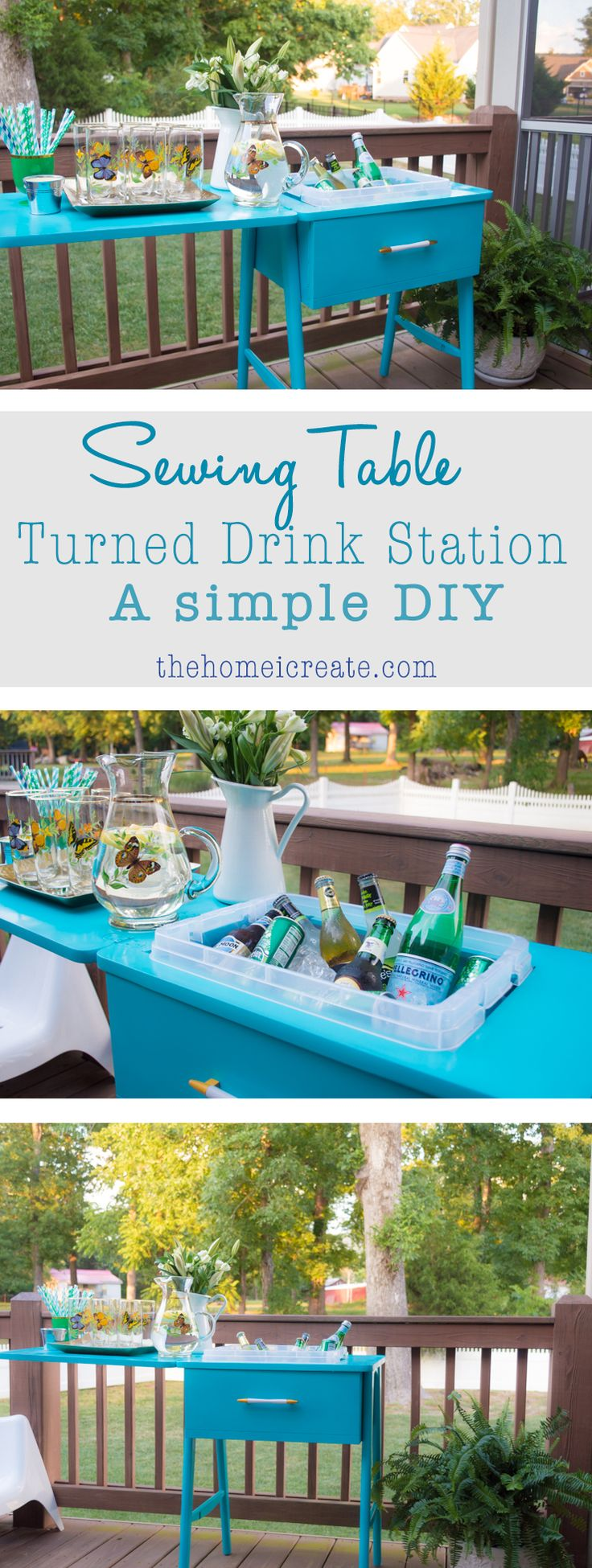 Turn an old sewing table into a drink station with this simple DIY! When not in use, you can easily use it as a side table! Never skip over this thrift store staple again! | thehomeicreate.com