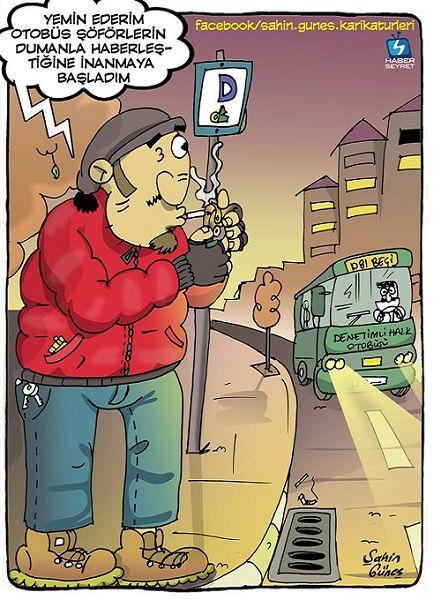 Otobüs Beklerken Sigara Yakma Karikatürü Şahin Güneş