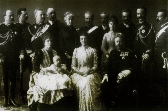 Portuguese Royal Family. Seated: Queen Maria Pia holding her grandson Prince Luis Filipe; Princess Amelia, King Dom Luis I of Portugal. Standing: 3rd Prince Carlos and 6th his younger brother Prince Afonso, Duke of Porto. 1888