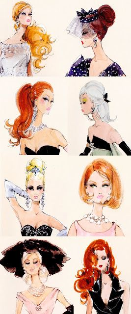 Classic Barbie Hairstyle Illustrations from the incredible Robert Best