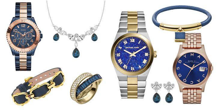 Blue moon - O contraste exuberante do azul com os tons ouro e ouro rosa. Guess, Michael Kors, Tommy Hilfiger, Marc by Marc Jacobs e Swarovski.