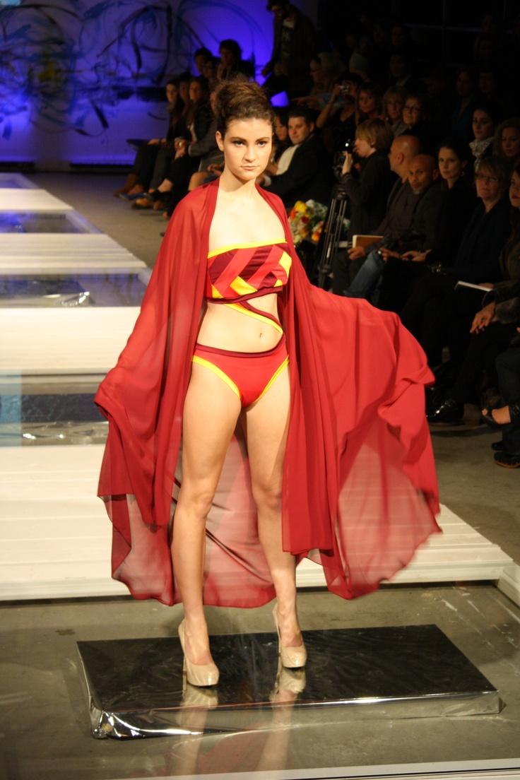 Asymmetrical swimsuit & chiffon wrap