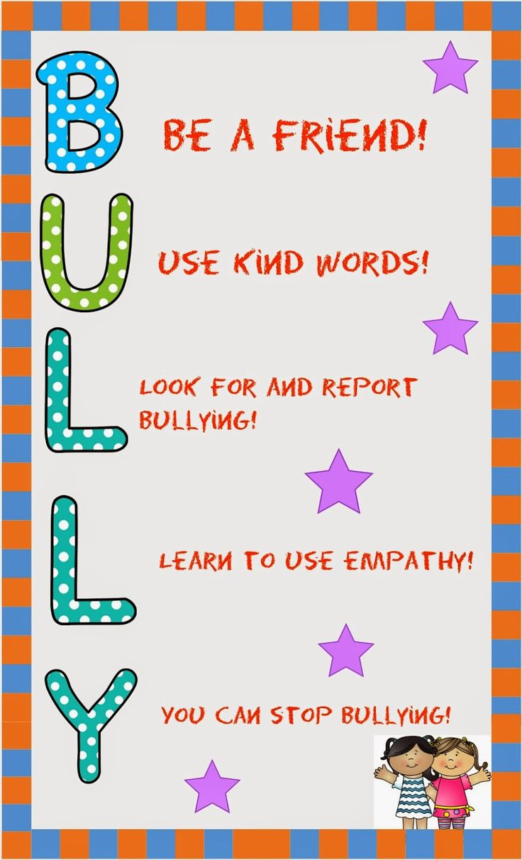 B.U.L.L.Y. Acronym Poster bullyprevention Characters