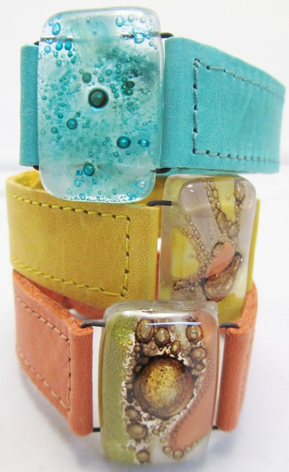 Leather+and+fused+Glass+bracelets+1+wide+Argentinean+by+CarliBruno,+$42.00
