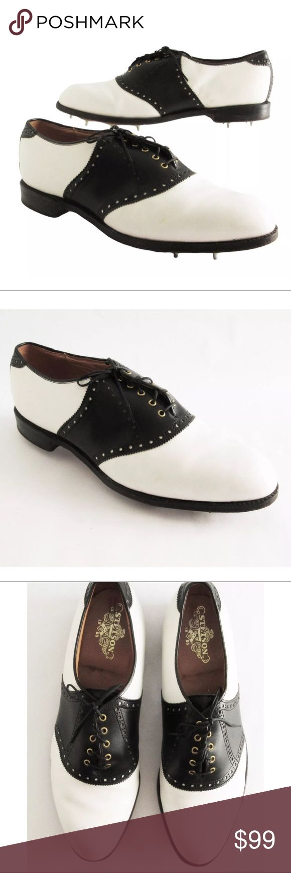 Stetson Vintage Oxford Golf Shoes Metal Spikes Stetson Golf Shoes Pre-Owned, excellent condition Pebbled Leather Body with Smooth Leather Saddle Oxford Details Size: 13 D/B Color: Black and White Leather Pre-Owned **These are vintage shoes with metal spikes No Trades Stetson Shoes Athletic Shoes