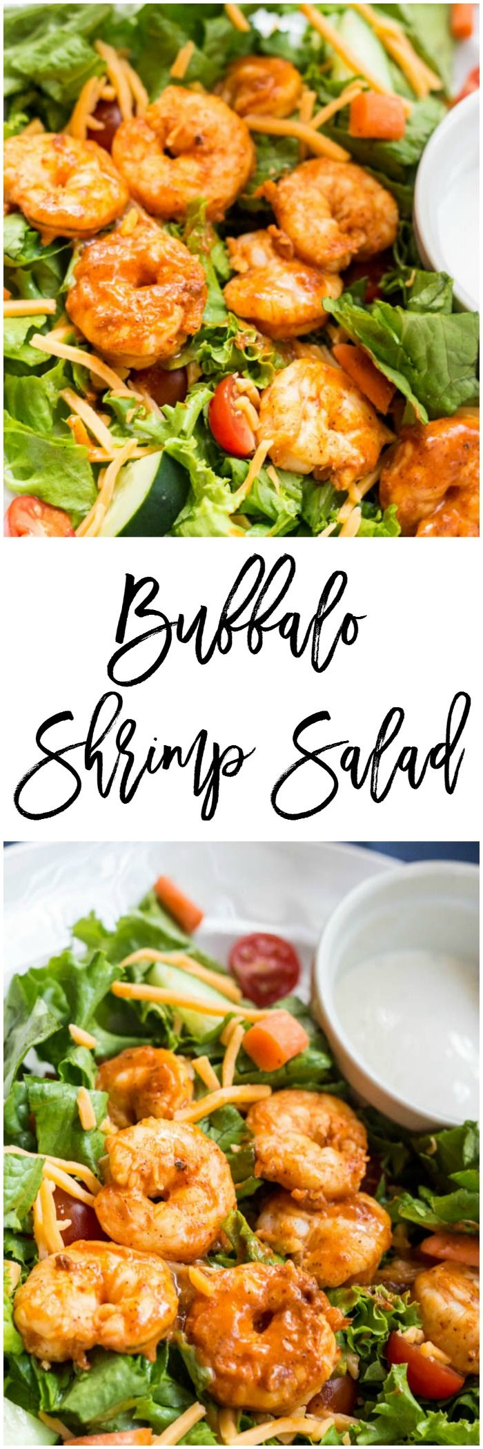 Buffalo Shrimp Salad - Let's talk about lunch.  I know that it can be hard to eat a delicious, easy lunch when you are on the go.  This buffalo shrimp salad takes about 10 minutes to make and is simple to throw together for a quick, healthy lunch.  It's only 6 SmartPoints on Weight Watchers. http://dashofherbs.com/buffalo-shrimp-salad/