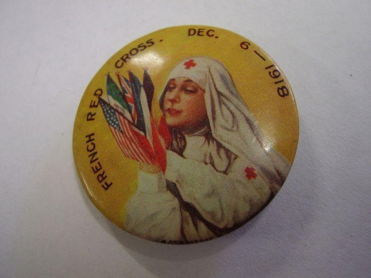 WW1+French+Red+Cross+1918+Button+Badge+Pin+B26+Nurse