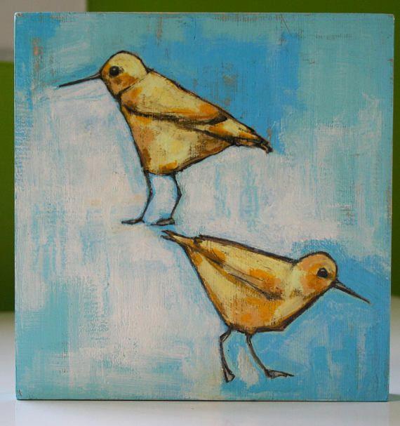 yellow sandpipers birds original a2n2koon mixed media painting
