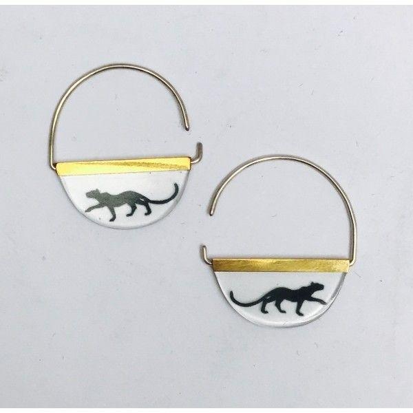 Bagheera Jungle Book Earrings ($43) ❤ liked on Polyvore featuring jewelry, earrings, earring jewelry and polish jewelry
