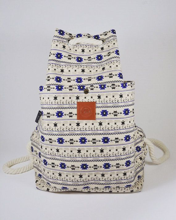 Flower drawstring rope backpack