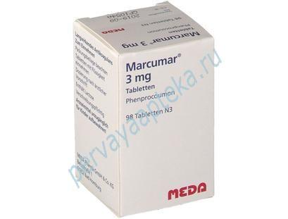 marcumar-phenprocoumon-98-sht. Производитель: MEDA Pharma GmbH & Co. KG(Германия)  Marcumar 3 мг, в упаковке — 98 таблеток  Вы можете купить у нас препарат Маркумар из Германии. Закажите экспресс доставкой и получайте препарат в течении трех дней. Действующее вещество —Фенпрокумон (Phenprocoumon).  Прилагается чек из немецкой аптеки.  Наши контакты:  Телефон в Москве +7 926 928 59 99  WhatsApp +7 926 928 59 99  Электронная почта lekargermany@mail.ru