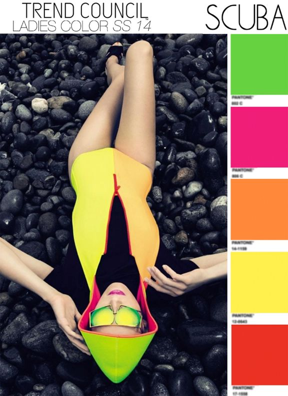 Trend Council SS14 SCUBA Scuba styled swim and active wear are hot in 2014. Zip up style in neon brights.